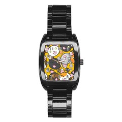Cats Pattern Stainless Steel Barrel Watch by Valentinaart