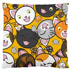 Cats Pattern Large Flano Cushion Case (one Side) by Valentinaart