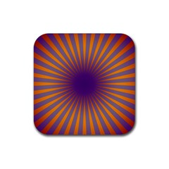 Retro Circle Lines Rays Orange Rubber Coaster (square)  by Amaryn4rt