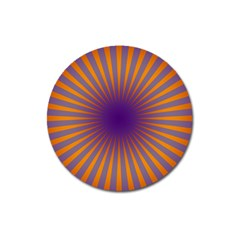 Retro Circle Lines Rays Orange Magnet 3  (round) by Amaryn4rt