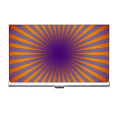 Retro Circle Lines Rays Orange Business Card Holders by Amaryn4rt