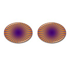 Retro Circle Lines Rays Orange Cufflinks (oval) by Amaryn4rt