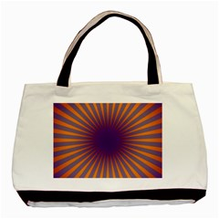 Retro Circle Lines Rays Orange Basic Tote Bag (two Sides) by Amaryn4rt