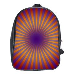 Retro Circle Lines Rays Orange School Bags(large)  by Amaryn4rt