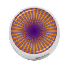 Retro Circle Lines Rays Orange 4 Port Usb Hub (one Side) by Amaryn4rt