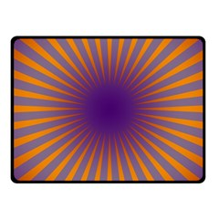 Retro Circle Lines Rays Orange Fleece Blanket (small) by Amaryn4rt