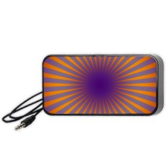Retro Circle Lines Rays Orange Portable Speaker (black) by Amaryn4rt