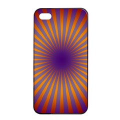 Retro Circle Lines Rays Orange Apple Iphone 4/4s Seamless Case (black) by Amaryn4rt