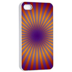 Retro Circle Lines Rays Orange Apple Iphone 4/4s Seamless Case (white) by Amaryn4rt