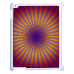 Retro Circle Lines Rays Orange Apple Ipad 2 Case (white) by Amaryn4rt