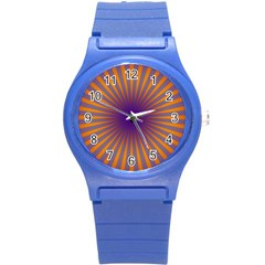 Retro Circle Lines Rays Orange Round Plastic Sport Watch (s) by Amaryn4rt