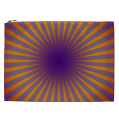 Retro Circle Lines Rays Orange Cosmetic Bag (xxl)  by Amaryn4rt