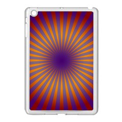 Retro Circle Lines Rays Orange Apple Ipad Mini Case (white) by Amaryn4rt