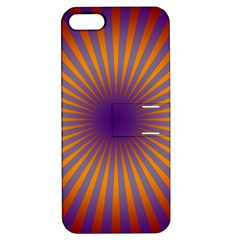 Retro Circle Lines Rays Orange Apple Iphone 5 Hardshell Case With Stand by Amaryn4rt