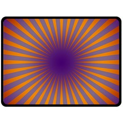 Retro Circle Lines Rays Orange Double Sided Fleece Blanket (large)  by Amaryn4rt