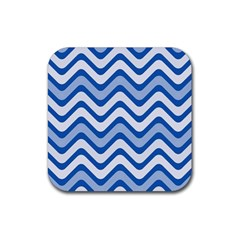 Waves Wavy Lines Pattern Design Rubber Square Coaster (4 Pack)  by Amaryn4rt