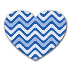 Waves Wavy Lines Pattern Design Heart Mousepads by Amaryn4rt