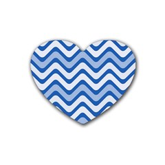 Waves Wavy Lines Pattern Design Rubber Coaster (heart)  by Amaryn4rt