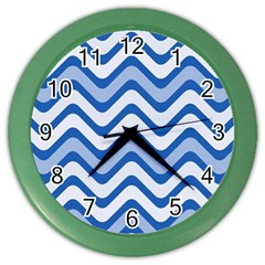 Waves Wavy Lines Pattern Design Color Wall Clocks by Amaryn4rt