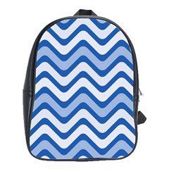 Waves Wavy Lines Pattern Design School Bags(large)  by Amaryn4rt
