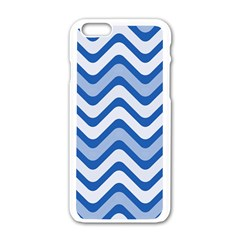 Waves Wavy Lines Pattern Design Apple Iphone 6/6s White Enamel Case by Amaryn4rt