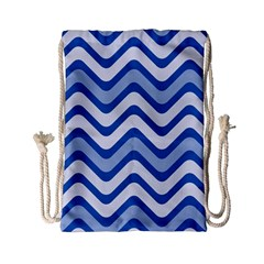 Waves Wavy Lines Pattern Design Drawstring Bag (small) by Amaryn4rt