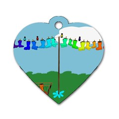 Welly Boot Rainbow Clothesline Dog Tag Heart (two Sides) by Amaryn4rt