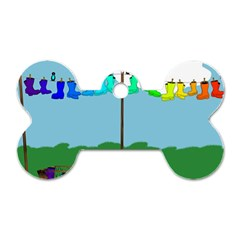 Welly Boot Rainbow Clothesline Dog Tag Bone (one Side) by Amaryn4rt