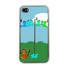 Welly Boot Rainbow Clothesline Apple Iphone 4 Case (clear) by Amaryn4rt