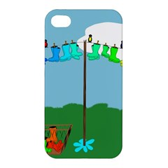 Welly Boot Rainbow Clothesline Apple Iphone 4/4s Hardshell Case by Amaryn4rt