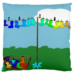 Welly Boot Rainbow Clothesline Large Cushion Case (one Side) by Amaryn4rt