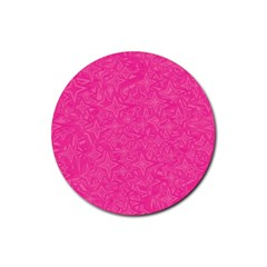 Geometric Pattern Wallpaper Pink Rubber Round Coaster (4 Pack)  by Amaryn4rt