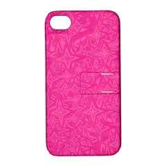 Geometric Pattern Wallpaper Pink Apple Iphone 4/4s Hardshell Case With Stand by Amaryn4rt