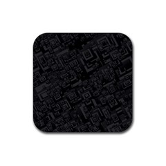 Black Rectangle Wallpaper Grey Rubber Square Coaster (4 Pack)  by Amaryn4rt