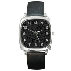Black Rectangle Wallpaper Grey Square Metal Watch by Amaryn4rt