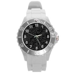 Black Rectangle Wallpaper Grey Round Plastic Sport Watch (l) by Amaryn4rt