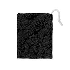 Black Rectangle Wallpaper Grey Drawstring Pouches (medium)  by Amaryn4rt
