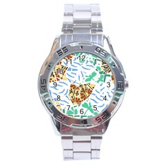 Broken Tile Texture Background Stainless Steel Analogue Watch