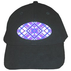 Geometric Plaid Pale Purple Blue Black Cap by Amaryn4rt