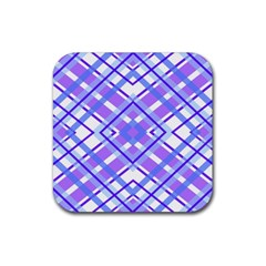 Geometric Plaid Pale Purple Blue Rubber Square Coaster (4 Pack)  by Amaryn4rt