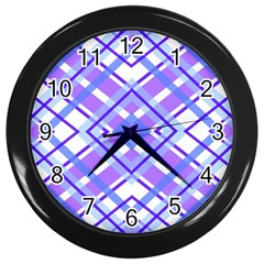 Geometric Plaid Pale Purple Blue Wall Clocks (black) by Amaryn4rt