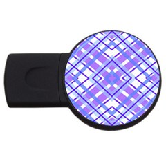 Geometric Plaid Pale Purple Blue Usb Flash Drive Round (2 Gb) by Amaryn4rt