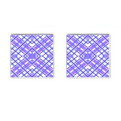 Geometric Plaid Pale Purple Blue Cufflinks (square) by Amaryn4rt