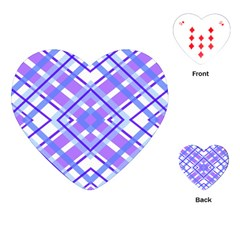 Geometric Plaid Pale Purple Blue Playing Cards (heart)  by Amaryn4rt
