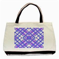 Geometric Plaid Pale Purple Blue Basic Tote Bag (two Sides) by Amaryn4rt