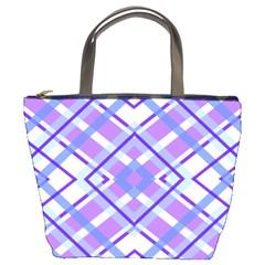 Geometric Plaid Pale Purple Blue Bucket Bags by Amaryn4rt