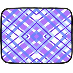 Geometric Plaid Pale Purple Blue Fleece Blanket (mini) by Amaryn4rt