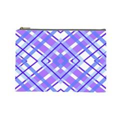 Geometric Plaid Pale Purple Blue Cosmetic Bag (large)  by Amaryn4rt