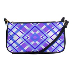 Geometric Plaid Pale Purple Blue Shoulder Clutch Bags by Amaryn4rt