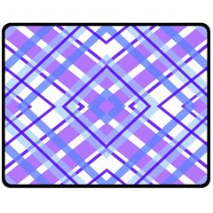 Geometric Plaid Pale Purple Blue Fleece Blanket (medium)  by Amaryn4rt